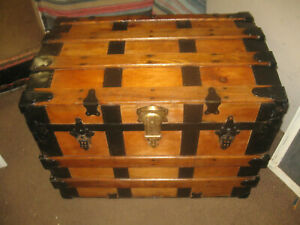 Antique REFINISHED STEAMER Trunk