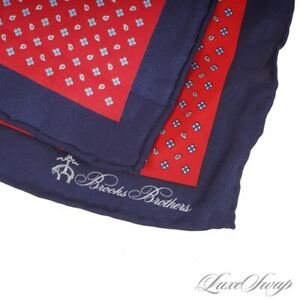 NWT Brooks Brothers Red Neat Floret Navy Blue Border Piped Silk Pocket Square NR