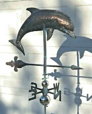 LARGE DOLPHIN Weather vane AGED COPPER FINISH- HANDCRAFTED & FUNCTIONAL- NEW