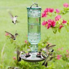 Vintage Retro Look Antique Glass Bottle Hummingbird Nectar Feeder 10 Oz Capacity