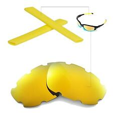 New WL Polarized 24K Gold Vented Lenses+Yellow Earsocks for Oakley Split Jacket