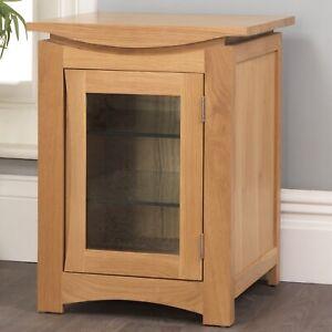 Crescent Hi-Fi Storage Entertainmen Cabinet Unit Solid Oak Living Room Furniture