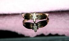 Vintage Illusion Set .10Ct Marquise Diamond 10K YG Engagement Ring SZ 5.5