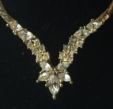 Vintage Christian Dior Gold Tone Necklace / Rhinestones In V Shape