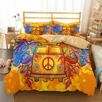 Hippie 3D Printing Bedding Set Of Quilt Cover & Pillowcase Twin/Full/Queen/King