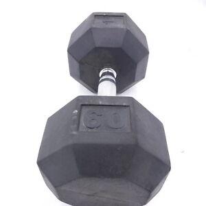 SINGLE 60 lb Rubber Hex Dumbbell (60 Pounds Total)