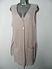 MAMUT Pink Knit Open Sided Sleeveless Cardigan Waistcoat Pockets Size Large