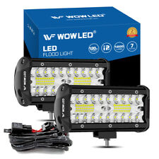 """2X 7"""" LED Work Light Offroad Combo Beam Fog Light ATV Truck 2V 24V + Wiring"""