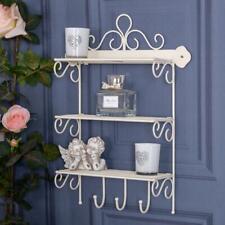 Cream Metal Shelving Unit Ornate Shabby Vintage Chic Storage Shelf Bathroom Home