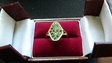 Antique Natural Emerald  9ct Gold Ring