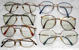 7 Pair Vintage Wire EYEGLASS Frames 60's-90 12k Gold Fill, Neostyle, Over SIze +