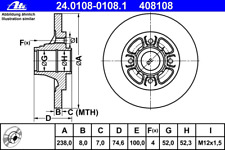 Bremsscheibe (2 Stück) - ATE 24.0108-0108.1