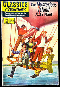 Classics Illustrated No.34 - The Mysterious Island, 1966, VG Condition.