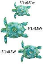 Metal Sea Turtle Decor Hand Painted Blue Wall Art Ornament Kit Garden Yard fly