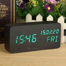 Calendar Black Green LED Wooden Clock Digital Alarm Clock Timer Date Day Display