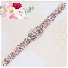 Bridal Bridesmaid Prom Dress Crystal Pearl Rose Gold Appliqué For Sash Belt 37cm