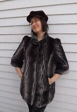 Worthington Retro 40s Faux Fur Coat Cropped Sleeves 1940s Style Jacket Brown S