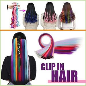 Clip In Hair Extensions Rainbow Coloured Highlight Synthetic Wavy Straight Clips