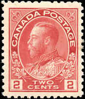 1917-22 Canada Mint 2c F-VF Scott #106 KGV Admiral Issue Stamp Hinged