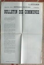 Affiche ancienne WWI Bulletin des communes original vintage french poster war