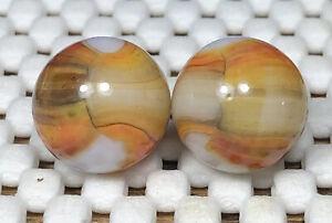 Two (2) Peltier Woodies Beautiful! * Vintage Rainbo Marbles
