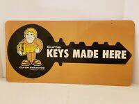 Vintage 1950's Hardware Store 2 Sided Locksmith KEYS MADE Metal Advertising Sign