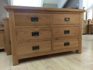 CHUNKY OAK 6 DRAWER CHEST - WIDE LOW BEDROOM DRAWERS - SOLID WOOD - 120CM WIDE