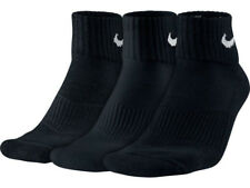 Nike Men 3ppk Cushion Quarter Socks - Black/white Large