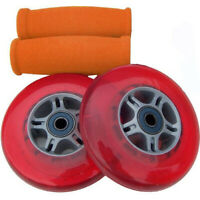 RED Replacement Razor Scooter WHEELS, ABEC 7 BEARINGS, ORANGE GRIPS