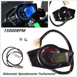 Universal Motorcycle 15000RPM LCD Display Odometer Speedometer Tachometer Gauge