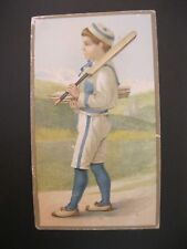 Victorian Trade Card 1800's Nox 'Em All Boy Playing Ball Paddle  44
