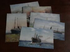 ORIGINAL SET OF SIX TUCK SHIPPING POSTCARDS - CELEBRATED LINERS - No. 6229.