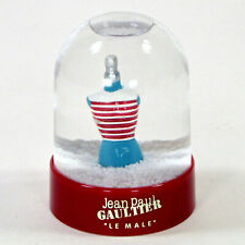 """Jean Paul Gaultier LE MALE 3.5"""" Mini Snow Globe Collector Red Striped Christmas"""