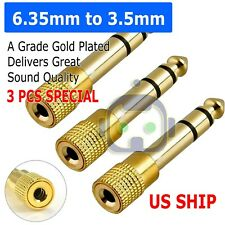 "3X 6.3mm 1/4"" Male plug to 3.5mm 1/8"" Female Jack Stereo Headphone Audio Adapter"