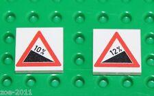 Lego 2x White Tile 2x2 Custom Printed Road Sign NEW!!! 4