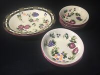 "ONEIDA "" Strawberry Plaid""  Bowls/Platter  Flowers/Fruit Red Purple Green"