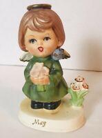 Vintage Napco May Angel Girl Flowers Green Dress Blue Bird Figurine C-9225