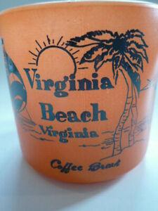 Vintage Federal Glass Orange Milk Glass Souvenir Virginia Beach Coffee Cup, Mug