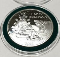 Garfield Cartoon Christmas Happy Holidays 1 Troy Oz .999 Fine Silver Round Coin