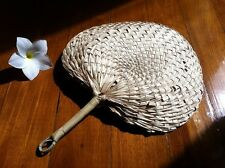 "NEW RAFFIA HAND FAN HANDMADE  SIZE 12x10"" ( NATURAL COLOR )"