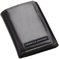 Tommy Hilfiger Mens Black Leather Cambridge Trifold Passcase Wallet in Gift Box