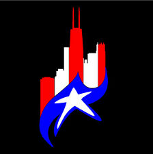 PUERTO RICO CAR DECAL STICKER  CHICAGO SKYLINE with  FLAG #222