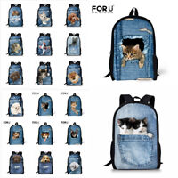 Girls Boys School Bags Funny 3D Dog Cat Women Backpack Satchel Schoolbag Backbag
