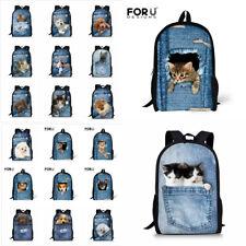Girls Boys School Bags Funny 3D Dog Cat Women Backpack Satchel Schoolbag Backbag