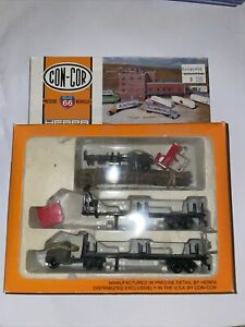 N Scale Con-Cor Miller Logging Tractor & Flatbed Trucks with Logs modified