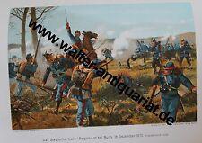 Das Badische Leib-Regiment bei Nuits 1870 Farb-Litho um 1905 Baden Militär Armee