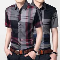 Luxury New Men's Fashion Short Sleeve Plaids Casual Slim Dress Shirts OD106