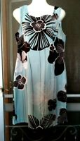 WOMEN'S CONNECTED BLUE WITH BROWN WHITE FLORAL PRINT SLEEVELESS DRESS SIZE 12