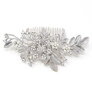 Silver tone flower hair comb bridal wedding crystal rhinestone hair accessories