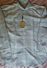 New Burberry London Men Dress Shirt Shade Plaid Logo Black & White XXL $380